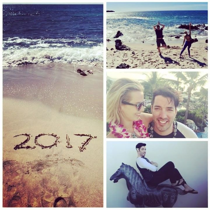 "Jonathan Scott on Instagram: ""Officially said goodbye to 2017. Getting in a few more hula dances before @mrdrewscott and I finish up the season of @propertybrothers and start BvsB6. Can't wait! #Maui"" (Go to Visit for the video in the photo collage)"