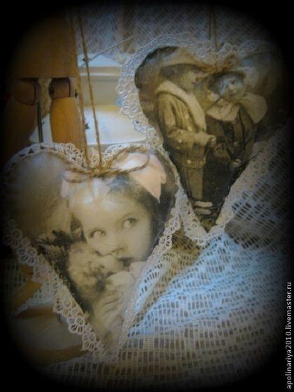 """Старое фото"" Сердечки-подвески - белый,сердце,винтаж,ретро,Новый Год"
