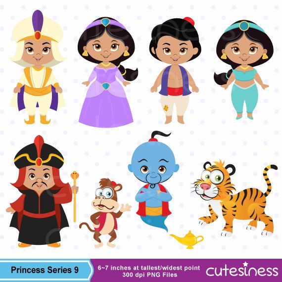 Princess Digital Clipart Princess Clipart Aladdin by Cutesiness, $6.00