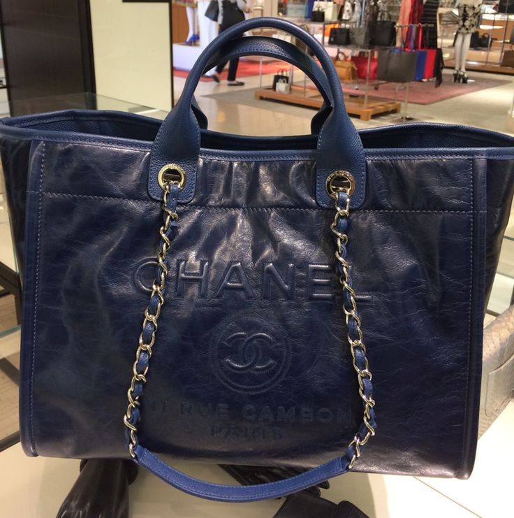 Chanel Navy Leather Deauville Tote Bag