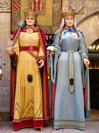 Gegants Reis de la Paeria de Lleida: Jaume I i Na Lionor. 1949.