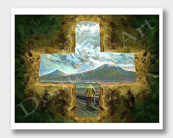 Mount Ararat, Old Armenian Man, Armenia Paintings, Cross Art, Old Man Art, Mt Ararat, Masis Ararat, Ararat Armenia, Armenia Landscape