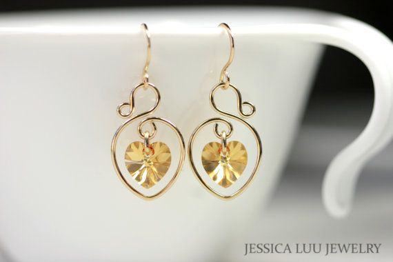 Yellow Gold Swarovski Crystal Earrings Wire by JessicaLuuJewelry