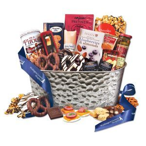 """Epicurean Feast:  A gift favorite. Our hammered metal tub (13.5"""" x 7.5"""" x 6"""") is overflowing with delicious treats, and there's something for everyone to share. To add special elegance, we wrap the entire basket with a festive, decorative cello and tie it with blue satin ribbon (foil-stamped in silver with your logo). It's a gift they'll enjoy at once and remember throughout the year.  #ClientFoodGifts"""