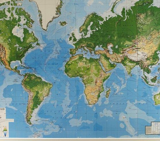 Jumbo World Map Mural | Pottery Barn Kids