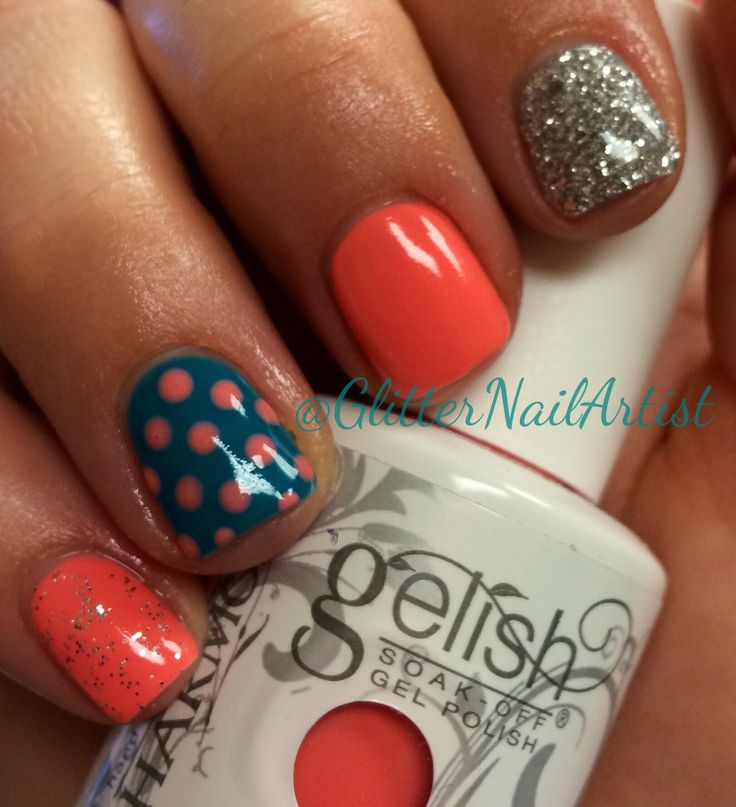 GlitterNailArtist| Bold summer nails -- Gelish: I'm brighter than you, Radiance is my middle name & Loose Silver Glitter - spring nails - Easter nails - bright nails - coral nails - teal nails - nail art ideas