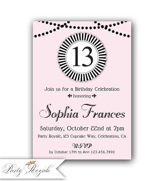 Pink and Black 13th Birthday Invitations Teen Birthday
