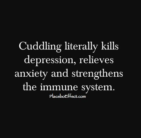 #Cuddling is the best medicine -- it helps #depression & #anxiety