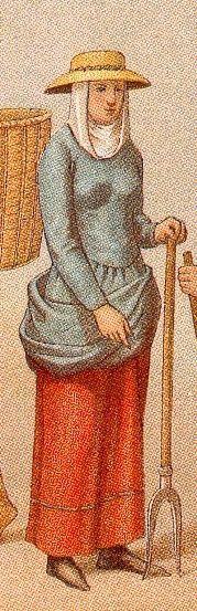 La esposa del campesino viste camisa o kamese, y sobre ésta la túnica o almexia recogida en la cintura para facilitar el trabajo. La cabeza se cubría y usaban sombrero de ala ancha.
