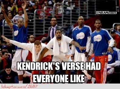 LA Clippers Respond to Kendrick's Verse! - http://nbafunnymeme.com/nba-meme/la-clippers-respond-to-kendricks-verse