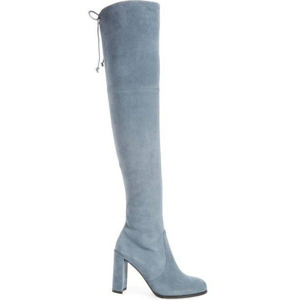 Light Blue Suede Chunky Heel Boots Lace