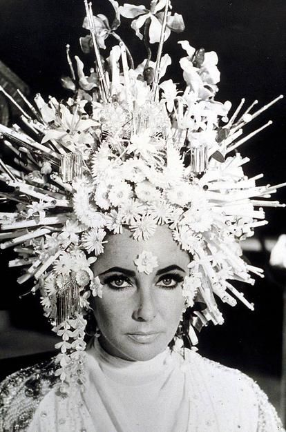 "Karl Lagerfeld's headdress for Elizabeth Taylor in the 1967 movie ""Boom!"""