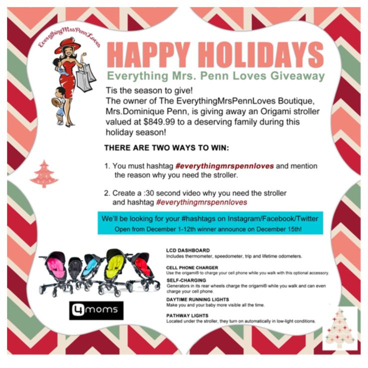 Tag a friend, share this post/repost and help spread the news!!! Starting today, I will be looking for a deserving person to give a Origami stroller to this holiday season from my baby boutique!!!! #EverythingMrsPennLoves stating why you or the person you know deserves it or post a 30sec video and #EVerythingMrsPennLoves and tell me why!! I can't wait to see your post!!!! Ready.....Set.......Go!! Please submit to @EverythingMrsPennLoves via Instagram/Facebook  And @DominiquePenn via Twitter