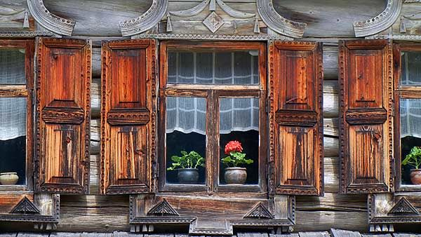 Russian decorated house window.