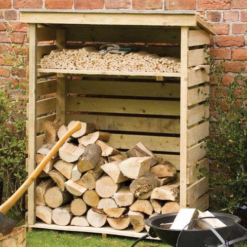 Bygg hylla vid vedboden för tändved. Gör sektioner längs väggen för enklare stapling