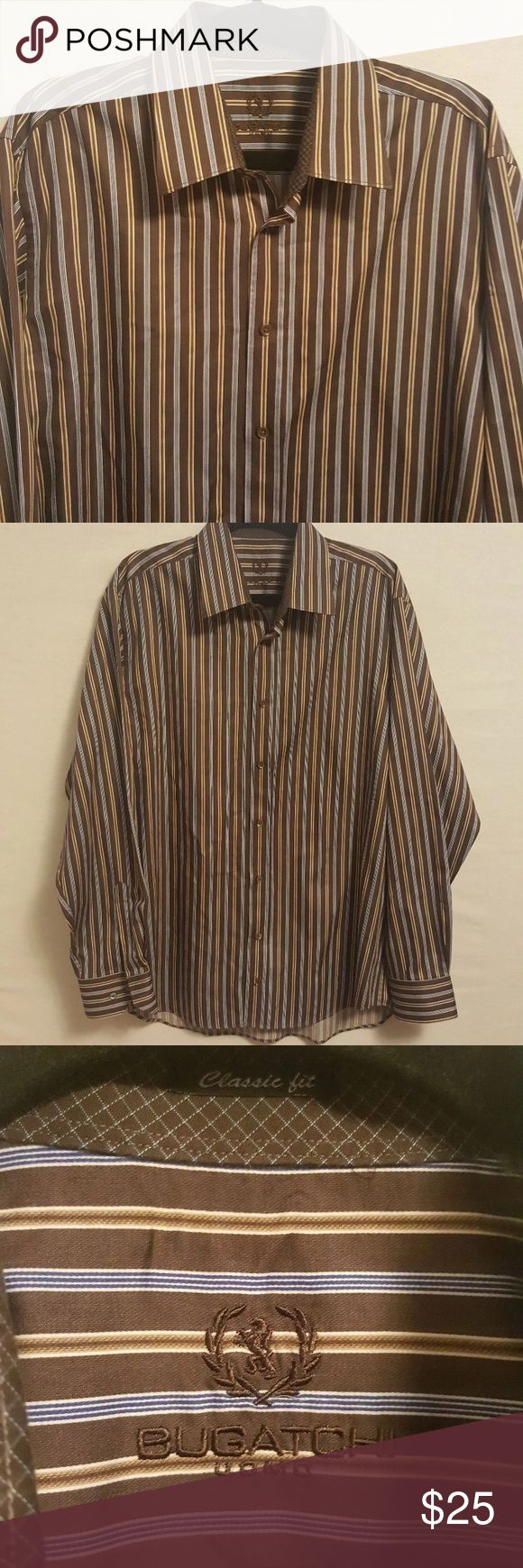 Bugatchi Uomo Striped Brown Dress Shirt Bugatchi Uomo Striped Brown Dress Shirt Size XL, color is brown, gold and blue. Gently pre-owned, in great condition.  Measurements (approximate) Length: 31 inches Underarm to underarm (laying flat): 25.5 inches Sleeve: 26.5 inches Shoulder to Shoulder: 21 inches Bugatchi Shirts Dress Shirts