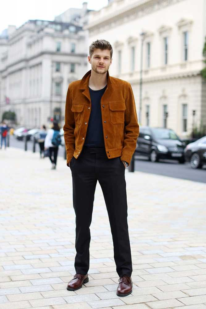 Jim Chapman wears brown suede Sandro jacket, Tiger of Sweden t-shirt, Louis Vuitton trousers, Russell & Bromley shoes.  LC:M S/S 2016 Street Style. London.