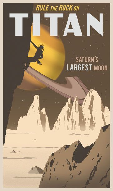 Titan, Saturn's Largest Moon by Steve Thomas. Space travel poster