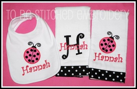 Burp Cloth and Bib Gift Set - Monogrammed Ladybug - made by To Be Stitched Embroidery