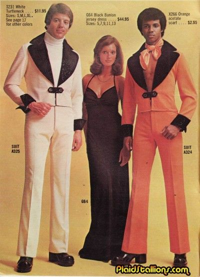 This woman has herself a little acetate sandwich. Love the ascot with no shirt styling for the guy on the right.