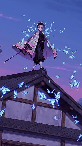 Shinobu Butterflies Kimetsu No Yaiba 4k Hd Mobile Smartphone And Pc Desktop Laptop Wallpaper 3840x2160 1920x1080 Lukisan Jepang Seni Anime Kertas Dinding Anime wallpaper phone 4k