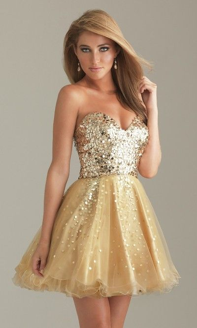 Sequins Short Homecoming Dresses, Strapless Sexy Prom Dresses,Golden Yellow Homecoming Dresses