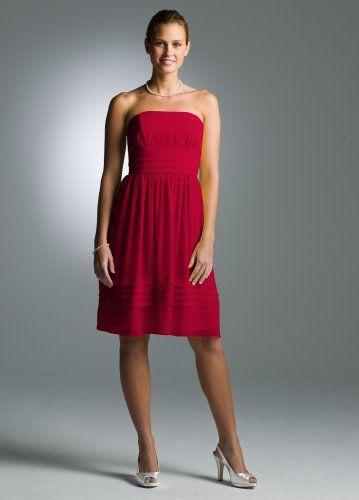 Short Strapless Pleated Dress in Crinkle Chiffon Apple Material: Crinkle Chiffon.  #David'sBridal #Apparel