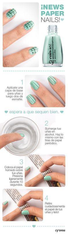 Uñas de periódico con tono verdoso - http://xn--decorandouas-jhb.com/unas-de-periodico-con-tono-verdoso/