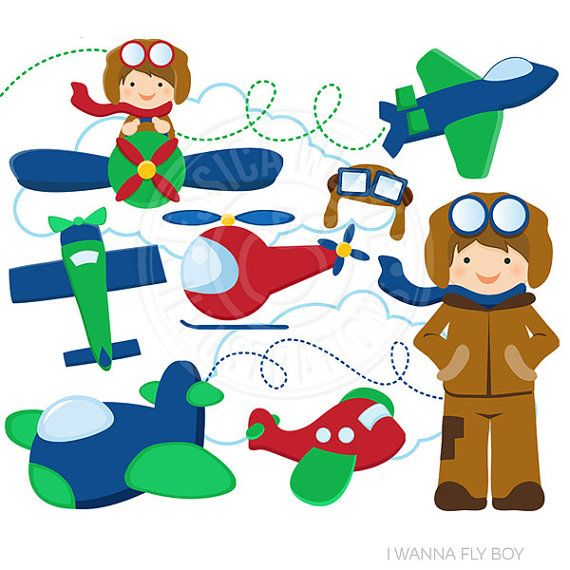 I Wanna Fly Cute Digital Clip Art - Commercial Use OK - Aviator Graphics, Planes Clipart, Boy Flying Plane Clipart