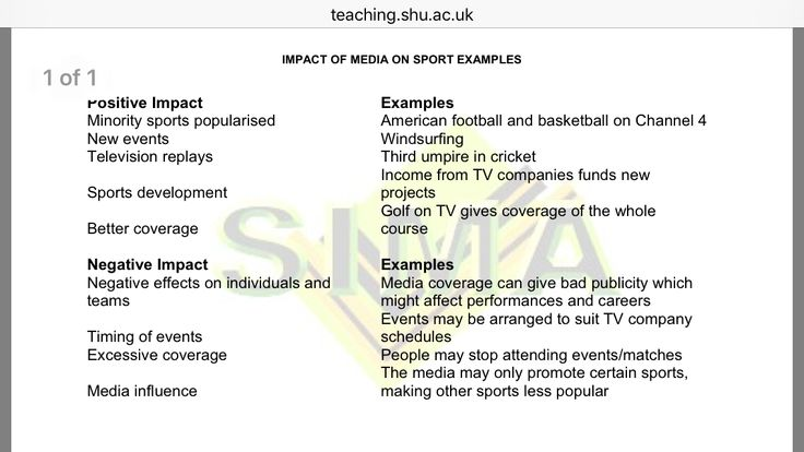 how media influences sport Impact of media on sport examples positive impact  american football  and basketball on channel 4 new events  media influence the media may.