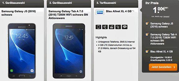 Bundel Vertrag mit Handy von Samsung oder Sony für 1,00€ mit dem Tarif Blau Allnet XL 4 GB und erhalten dafür eine LTE Internet-Flatrate 4GB (ab 4000 MB Drosselung auf GPRS-Geschwindigkeit) , Allnet-Gesprächsflat in alle Netze und eine SMS-Flat in alle dt. Mobilfunknetze der Vertrag wird im Netz von O2 realisiert.