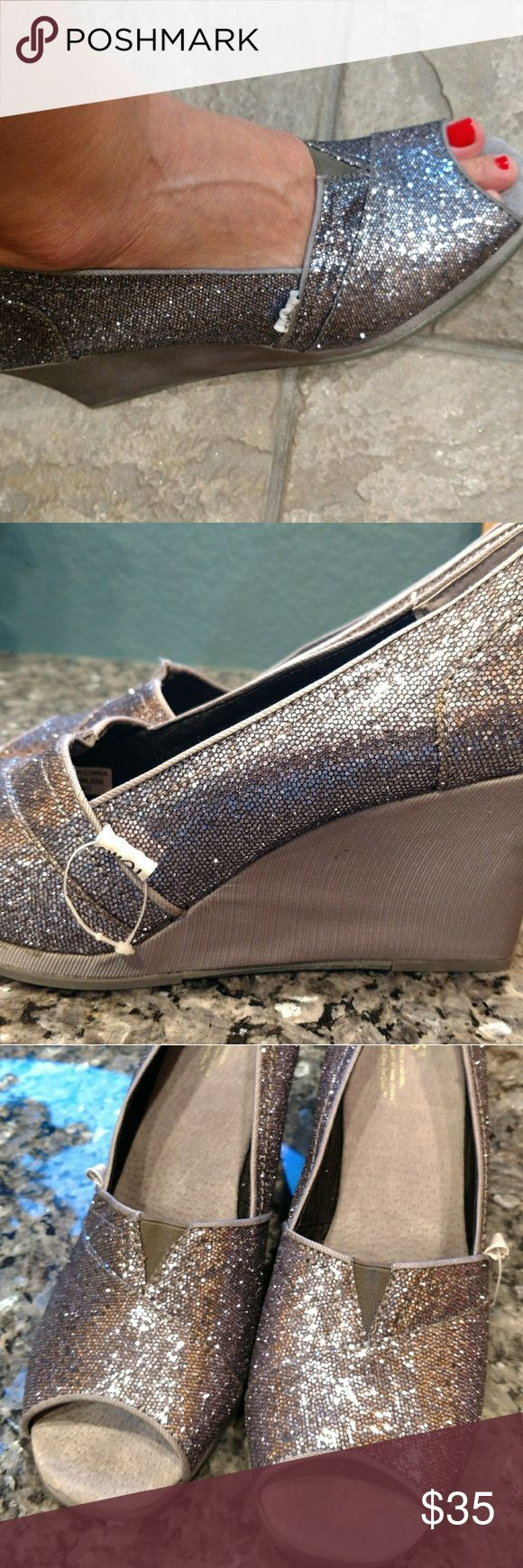 Toms Wedges, Silver Sparkle Glittery, silver wedges, practically new, forced to re-posh because they're a little snug on me but they are SO cute on! TOMS Shoes Wedges