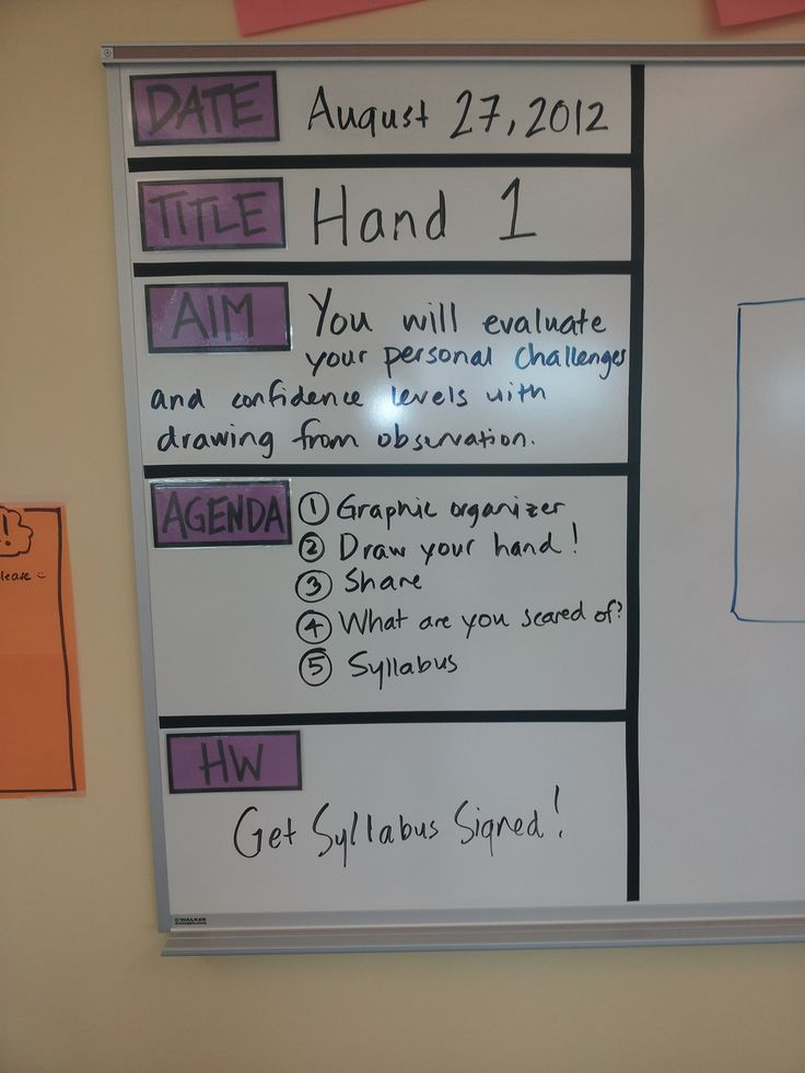 putting this on the board would help each class period keep up with everything they need to get done that week/day for each class period