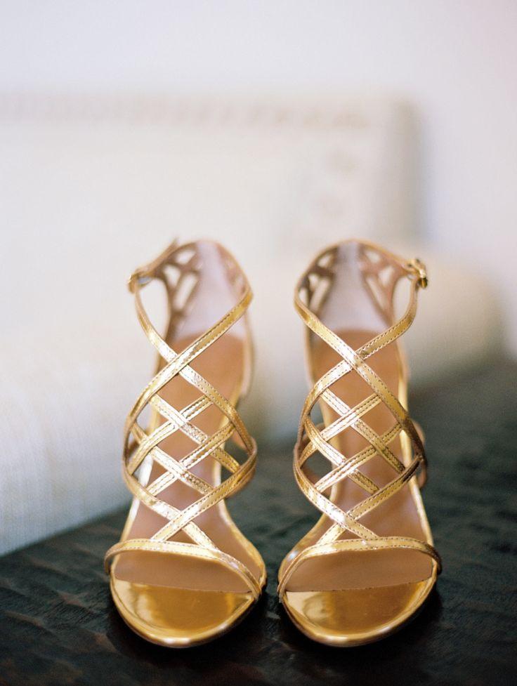 Gold Heels   Read More: http://www.stylemepretty.com/california-weddings/2014/07/08/romantic-diy-vineyard-wedding/   Photography: Marisa Holmes - www.marisaholmesblog.com