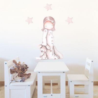 Decoración infantil Il Mondo di Alex, Vinilos - Stickers efecto pintado a mano, NIÑA EN PIJAMA III... personalizado con nombre y a medida.