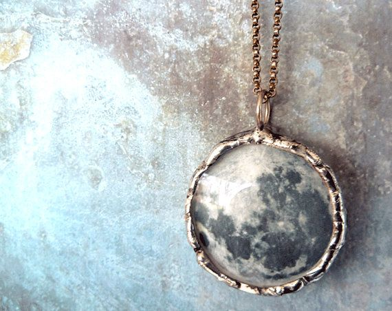 Dark Side of the Moon Necklace  Medium Glass by RenataandJonathan, $95.00: Chains Double, Necklaces Medium, Sterling Silver Chains, Medium Glasses, Lens Pendants, Dark Side, Oxidized Sterling Silver, The Moon, Moon Necklaces