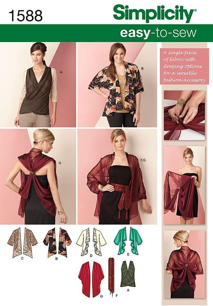 Simplicity Creative Group - Kimono Jacket & Wrap Size XS-XXL:
