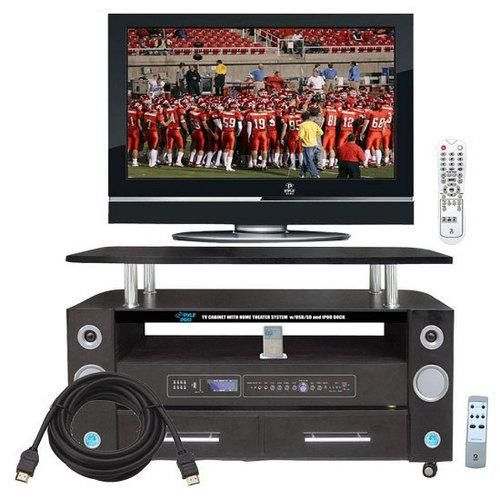 """32"""" Hi-Definition LCD Flat Panel TV + LCD TV Cabinet Dual Channel Home Theater System with iPod Docking Station + 6Ft. High Definition HDMI Cable."""