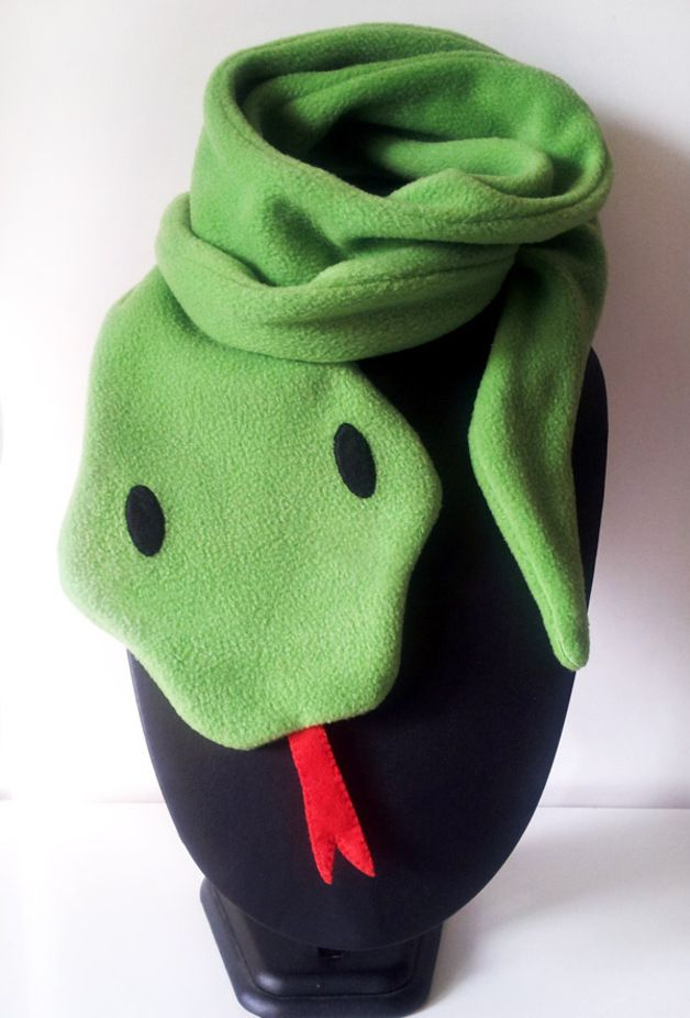 Fleece scarf kawaii little green snake