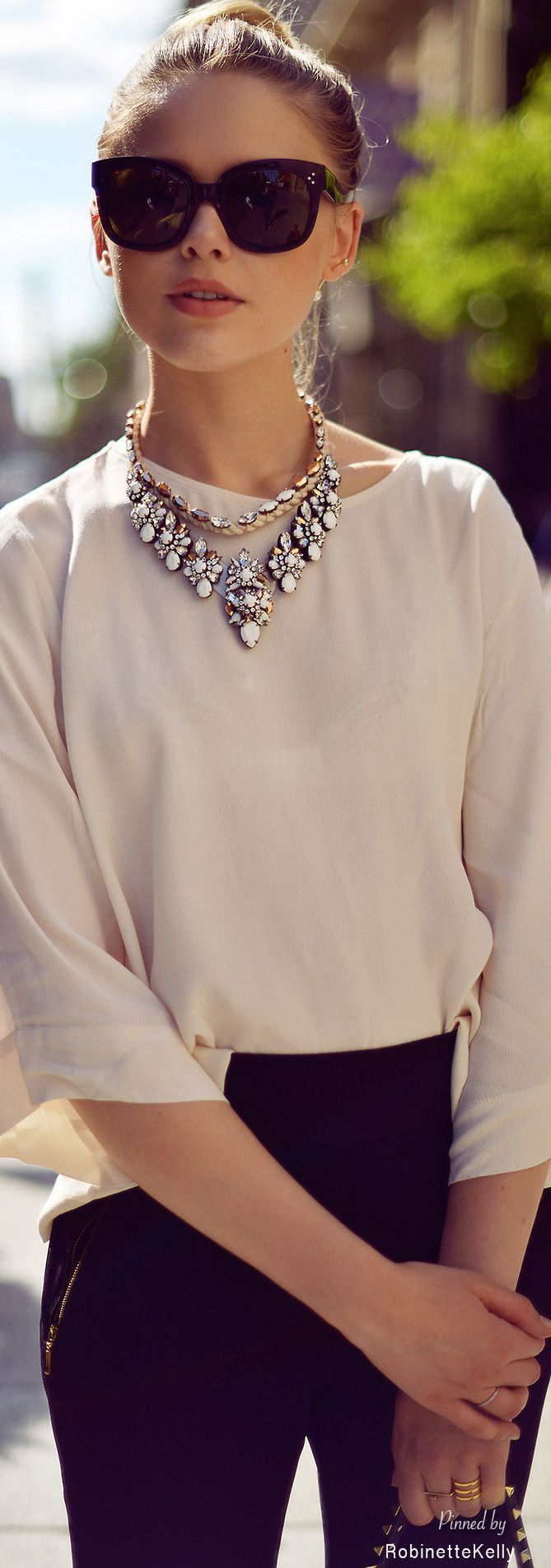 Street Style / Black and Beige /great statement necklaces here..