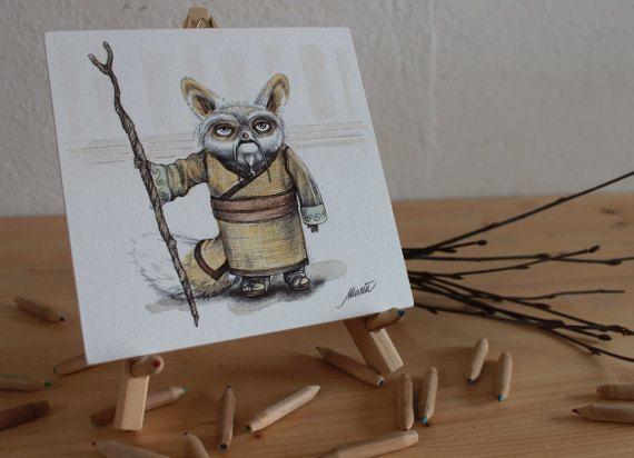 Maestro Shifu (Kung fu Panda); 15x15cm; acquerello e penna su carta.