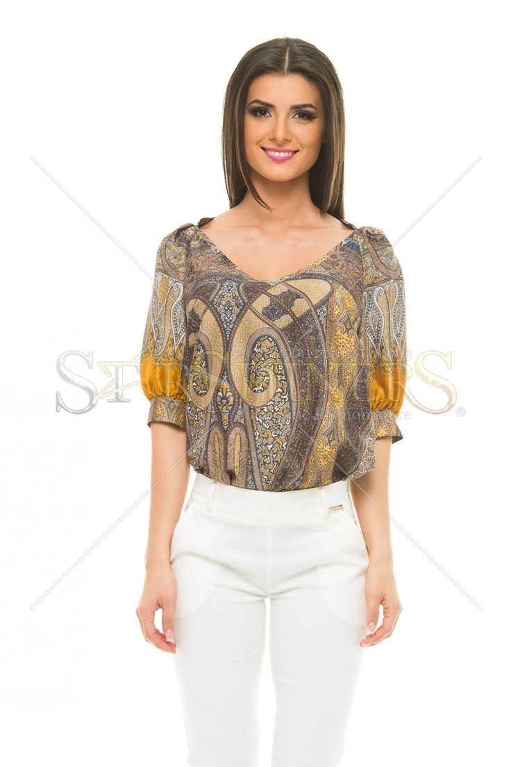 PrettyGirl Abstraction Brown Blouse