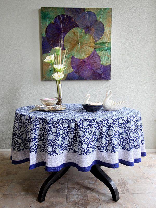 Blue Tablecloth, Banquet Tablecloth, Floral Tablecloth, 70 Round Tablecloths,  90 Round Tablecloth