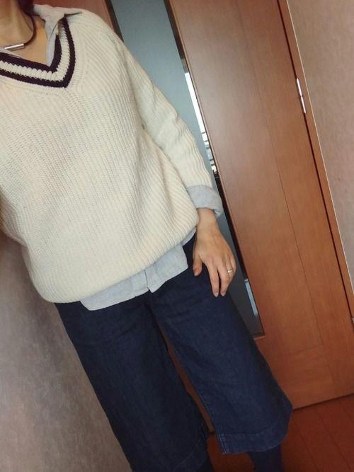 ネルシャツに Vネックセーター (ユニクロでセール品♥) 無印のデニムガウチョパンツ 無印のミックス