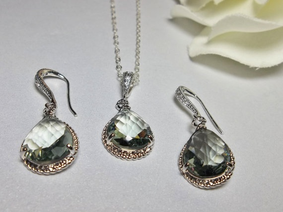 Sterling Silver Necklace and Earring set  by QueenMeJewelryLLC, $49.99: Earring Set, Queen, Jewelry Showcase, Bridal Jewelry, Earrings Sets, Black Diamonds, Sterling Silver Necklaces, Diamond Necklaces, Diamonds Necklaces