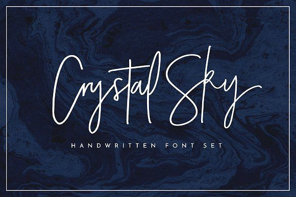 Crystal Sky Font Set by Sam. A clean & classy signature-style font set, perfect for creating authentic hand-lettered text quickly & easily. perfect for logos, headers, company or personal branding, product packaging, cards & handwritten quotes.