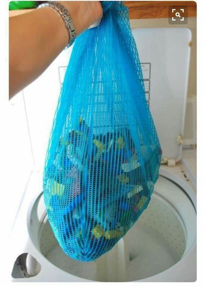 Simply use a mesh bag to clean those tiny toys in the washing machine. Great for legos or any other small toys.