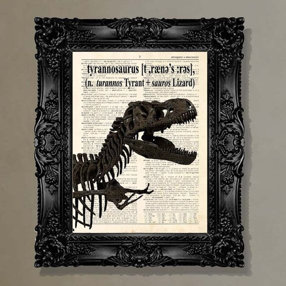 Dictionary Print - (Tyrannosaurus Rex) Dinosaur lover, T-Rex , Childs Room Decor, Kids Room art