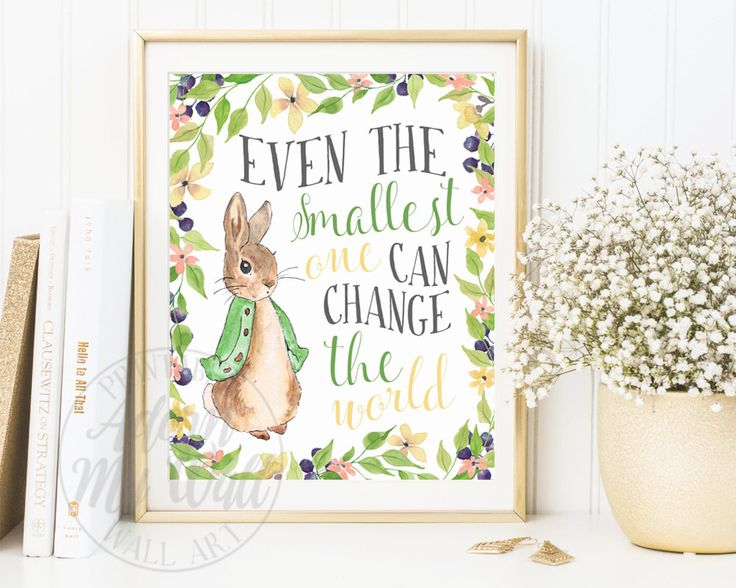 Peter Rabbit Wall Art, Gender Neutral Nursery Decor, Gender Neutral Baby, Even The Smallest One, Peter Rabbit prints, Beatrix Potter Nursery by AdornMyWall on Etsy