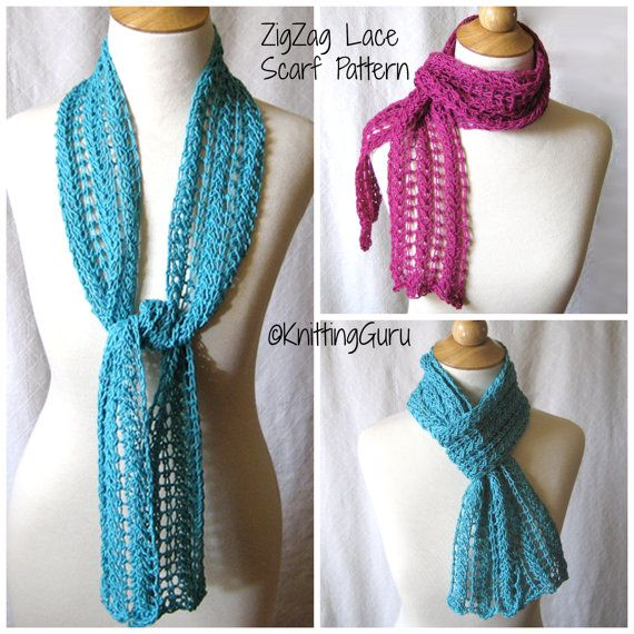 Lace Zig Zag Scarf Knitting Pattern : Images about lace on pinterest wool cowl scarf and merino